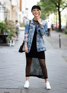 Kleid Mit Jeansjacke : outfit fashionweek kleid mit netzmuster jeansjacke sneaker 3 lavie deboite ~ Frokenaadalensverden.com Haus und Dekorationen
