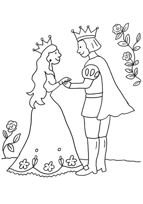 coloriage  imprimer le prince  la princesse