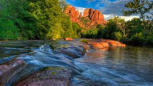 Sedona, Arizona, Usa, Red, Rock, Cathedral, Butte, From, Oak, Creek