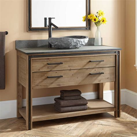 celebration vessel sink vanity rustic acacia bathroom