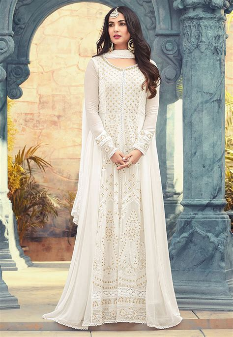 embroidered georgette abaya style suit   white kch