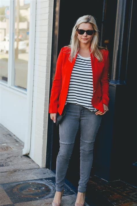 stripes red blazer