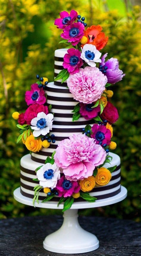 Colorful Sugar Flower Cake I Black And White Stripe