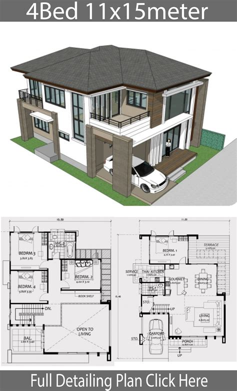 Find recommended residential architects fast & free with bark.com now! Home design 11x15m with 4 Bedrooms - House Plans 3D