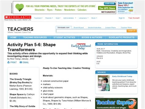 Shape Transformers Lesson Plan For Pre
