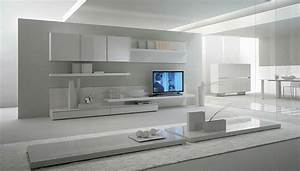 contemporary lacquered tv wall units with white theme in With modern living room tv wall