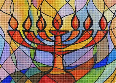 menorah lights needlepoint kit