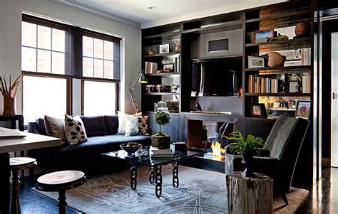 masculine interior design apartment in greenwich village