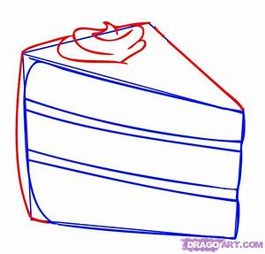 How to Draw a Piece of Cake, Step by Step, Food, Pop ...
