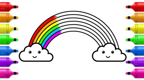 cute rainbow coloring pages   draw rainbow