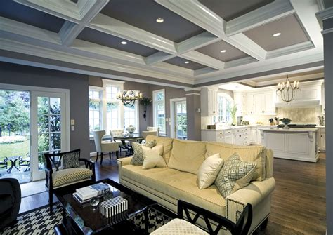 white kitchen coffered ceiling  family room dream
