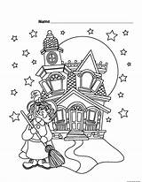 Coloring Pages Castle Halloween Witch Printable Printables Haunted Witches Fun Games Sheet Activity Freekidscoloringpage Puzzles Total Views Printabel Air 2338 sketch template