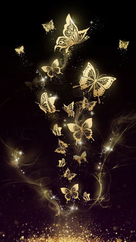 Beautiful golden butterfly live wallpaper android and ios