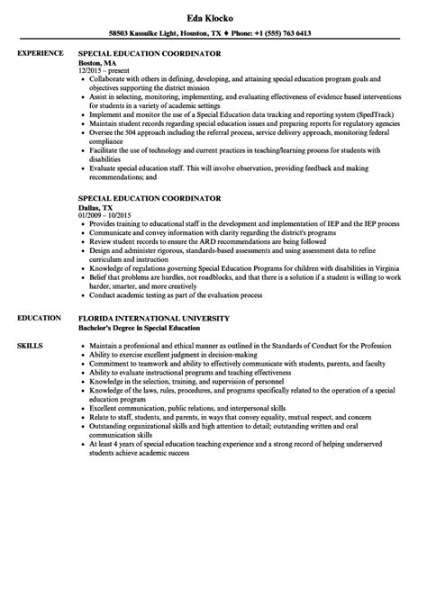 Education Coordinator Resume by Special Education Coordinator Resume Sles Velvet