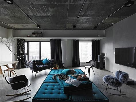 Black, Grey And Blue Living Room Filled With Roche Bobois