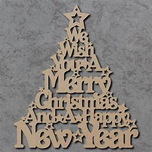 Merry Christmas Tree Sign - Wooden Laser Cut mdf Craft