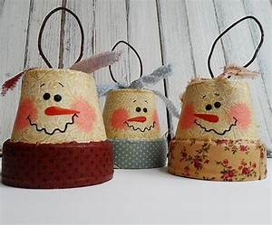 Vintage Clay Pot Snowman DIY Ornaments