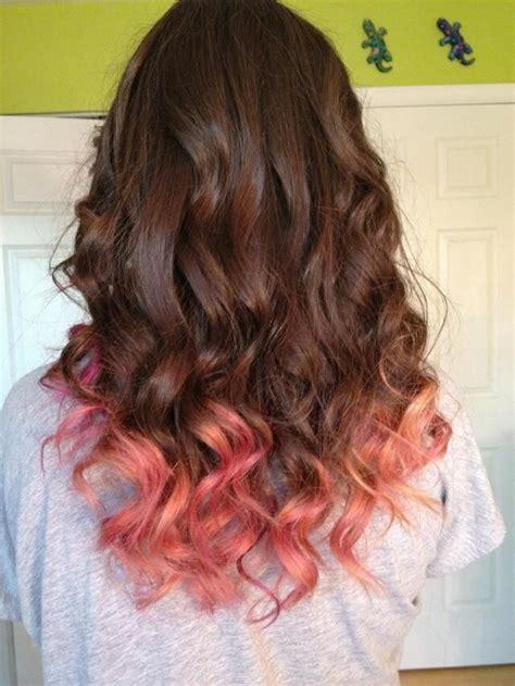 Dip Dyed Hair Dip Dye Hair Peach Hair Brown Hair Dye