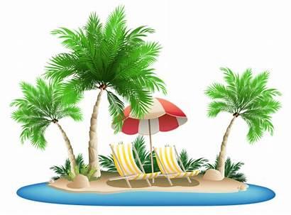 Palm Beach Tree Clipart Island Chairs Umbrella