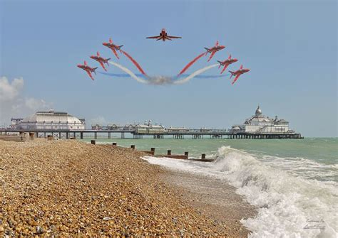 Blue And Red Dining Room by Red Arrows Over Eastbourne Pier Lionel Fraser Pictures