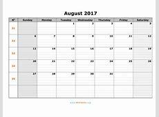 August 2017 Calendar WikiDatesorg