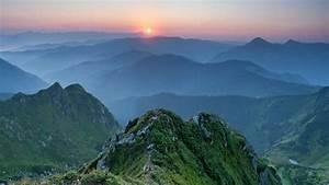 Nature, Landscape, Mountains, Trees, Forest, Sunset, Mist