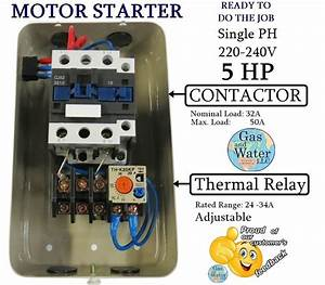 Magnetic Motor Starter Control 5 Hp Single Phase 220  240v 24 Off Button 662425062461