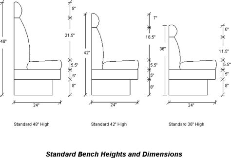 standard bench heights dimensions banquettes seating