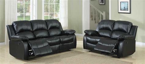 black leather living room set homelegance cranley reclining sofa set black bonded 16837