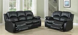 Homelegance cranley reclining sofa set black bonded for Homelegance 2 piece sectional sofa