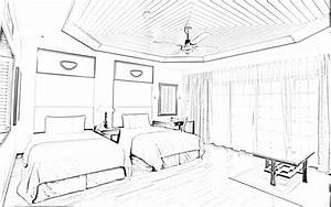 Drawn bedroom basic interior design - Pencil and in color ...
