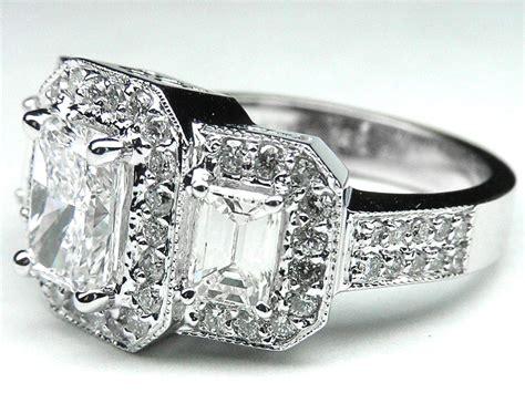 2.26 Carat Radiant Three Stone Vintage Diamond Engagement