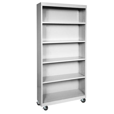 Steel Bookcases sandusky 5 shelf steel bookcase in dove grey bq10351372 05
