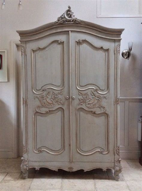 Grey Wood Wardrobe by Pretty Style Carved Louis Xv Painted Large Grey