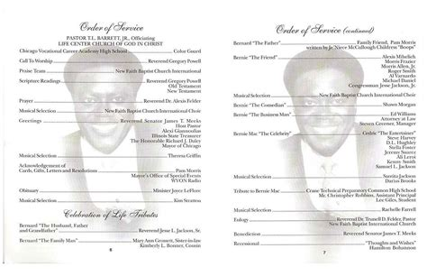 bernie macs funeral program