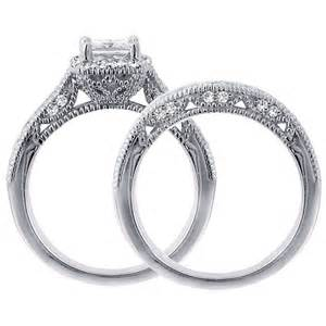 wedding sets for 1 carat vintage princess cut wedding ring set for jeenjewels
