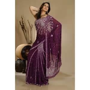 sari indien mariage acheter sari indien violet brodé de perles sur ethnikka fr