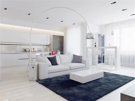 Sparkling Apartment Design by Sparkling White Apartment With Hideaway Home Offices