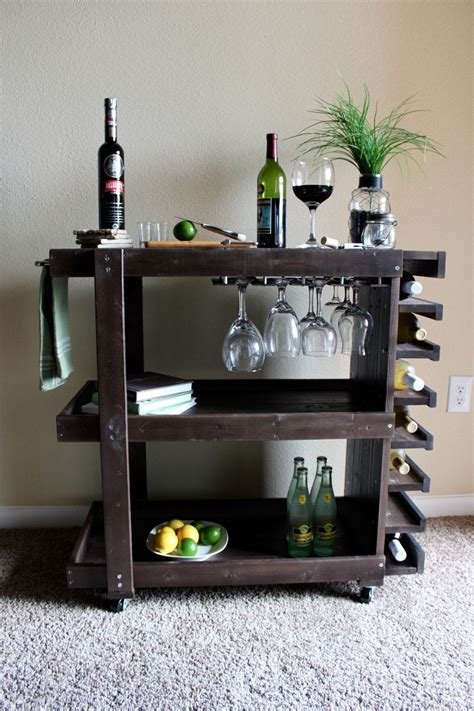 Bar Cart by Handcrafted Wooden Bar Cart
