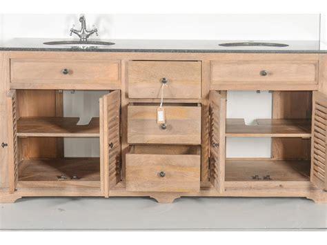 meuble double vasques en bois massif et marbre persienne