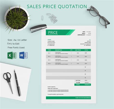 price quotation template   word excel