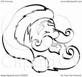 Outline Coloring Face Mustache Beard Santa Clipart Hat Smiley Happy Goatee Printable Frowny Royalty Illustration Template Nortnik Andy Rf Getcolorings sketch template