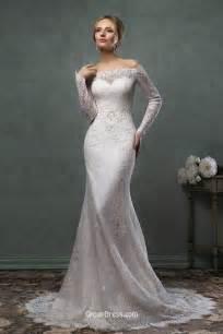 mermaid lace wedding dresses destination mermaid the shoulder lace sleeves wedding dress groupdress