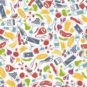 Seamless food background Royalty Free Vector Clip Art ...
