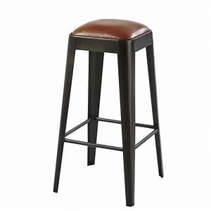 Tabouret De Bar Marron : tabouret de bar en cuir marron et m tal noir manufacture maisons du monde ~ Melissatoandfro.com Idées de Décoration