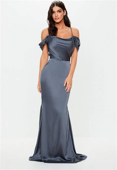 bridesmaid grey satin cowl cold shoulder maxi dress
