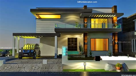 3d Front Elevationcom 2 Kanal Dha Modern Contemporary