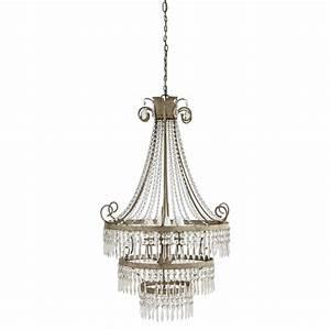lustre a pampilles en metal gris d 69 cm eleonore With lustre maison du monde