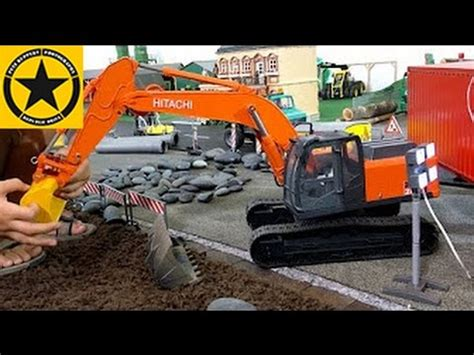 bruder excavators deere backhoe hitachi rc grabber  children bworld construction long play