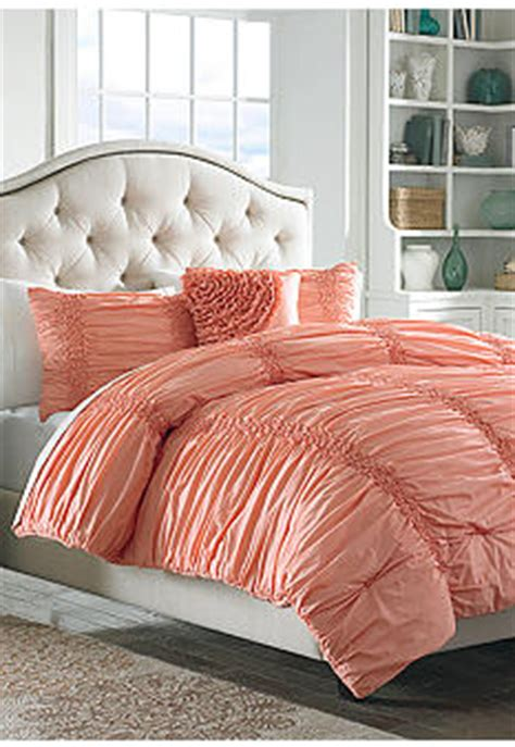 Coral Colored Bedding by Maryjane S Home Cotton Clouds Coral Bedding Collection